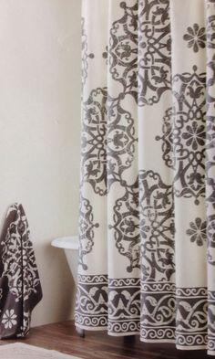 tahari home collection medallion border fabric shower curtain grey white in home u0026 garden ebay