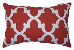 JinStyles Cotton Canvas Quatrefoil Accent Decorative Throw Lumbar Pillow Cover  Cushion Sham Christmas Red White Rectangular 1 Cushion Sham for 12 x 18 Inserts * You can get additional details at the image link.