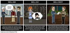 Man vs. Man, Man vs. Self, and Man vs. Society are all important types of literary conflict in The Moon is Down by John Steinbeck. View the full teacher guide here: https://www.pinterest.com/storyboardthat/the-moon-is-down/
