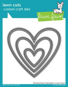 Lawn Fawn - Stitched Heart Stackables Lawn Cuts now available at The Rubber Buggy Scrapbooking, Scrapbook Supplies, Big Shot, Creation Crafts, Websters Pages, Die Cut Paper, Lawn Fawn Stamps, Artist Supplies, American Girl Crafts