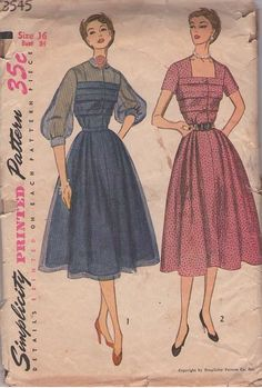 MOMSPatterns Vintage Sewing Patterns - Simplicity 3545 Vintage 50's Sewing Pattern DIVINE Lucy New Look Sheer Yoke & Sleeves, Horizontal Tucks, Shirtwaist Party Dress, Short Sleeve Day Gown
