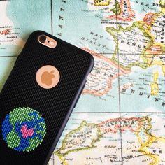 "Cross stitch phone casr (@atolyemaris): ""Travel  #tbt #throwback #earth #dünya #crossstitch #crossstitching #etamin #kanaviçe #embroidery…"""