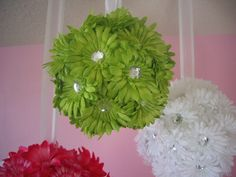 Hanging Flower Balls for Weddings, Baby Girl Nursery Decor, Baby Shower Decorations, etc.. $25.00, via Etsy.