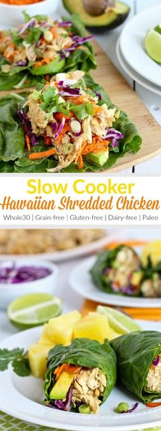 Slow Cooker Hawaiian Shredded Chicken is the perfect blend of sweet and savory. It's a compliant recipe that's great for leftovers and can be served warm or cold. For AIP- eliminate the pepper. Dairy Free Recipes, Paleo Recipes, Whole Food Recipes, Cooking Recipes, Gluten Free, Slow Cooking, Bean Recipes, Whole 30 Crockpot Recipes, Cooking Kale