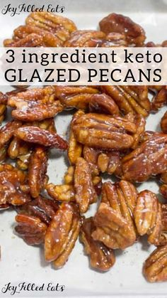 Keto 3 Ingredient Stovetop Glazed Pecans - Low Carb Sugar-Free THM S - I love sweet coated nuts. These Glazed Pecans are simple to make & delicious to munch on. They add flavor & texture to salads ice cream desserts & more. Dessert Sans Gluten, Bon Dessert, Dessert Recipes, Low Carb Desserts, Low Carb Recipes, Cooking Recipes, Simple Keto Desserts, High Carb Foods, Low Carb Diet