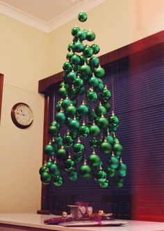 DIY Christmas tree made out of ornaments