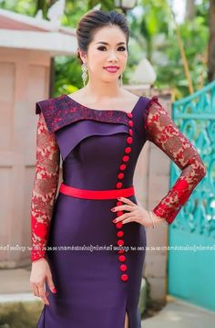 African Print Dress Designs, Dress Neck Designs, Blouse Designs, African Attire, African Fashion Dresses, African Dress, Myanmar Traditional Dress, Traditional Dresses, Gown Pattern