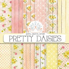 """Wood Digital Paper: """" Pretty Daisies"""" with  wood background, rustic wood, shabby chic background, wedding roses, flowers, lace, pink #digital #wedding"""