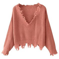 Loose Long Sleeve V-Neck Ripped Pullover Knit Sweater Crop Top Loose Sweater deb45f1f5