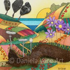 Sunset landscape with Parasol Mushrooms, bark, stones and clay flower. Markers, Clay, Painting, Autumn, Art, Sunset Landscape, Color
