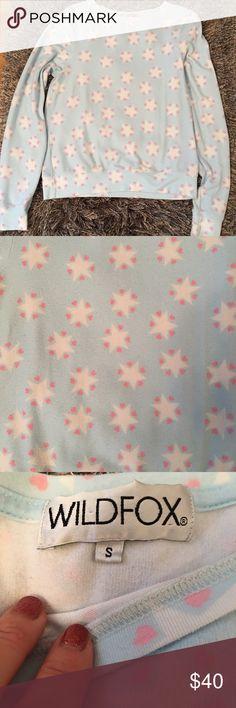🛍 Wildfox Stars & Hearts Blue Sweatshirt S Size S Wildfox Tops Sweatshirts & Hoodies