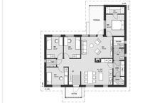 Hyvänkokoinen koti monilapsiselle perheelle. Neljä makuuhuonetta, joista suurin on talon toisella reunalla omassa rauhassaan. Suurimmassa makuuhuoneessa on lisäksi mukavankokoinen vaatehuone. Keittiö ja olohuone ovat kompaktin kokoisia ja erotettu toisistaan tunnelmallisella tulisijalla. Olohuoneesta on kulku katetulle terassille. Future House, My House, Sauna, Own Home, Floor Plans, Layout, Flooring, How To Plan, Deco