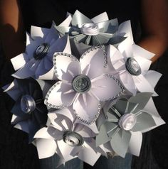 Extra Large Paper Flower Bouquet, Silver and White Bouquet, Winter Wedding Paper Flowers