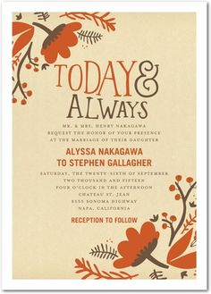 Today and Always - Signature White Wedding Invitations - Tallu-lah - Adobe - Orange : Front
