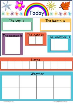 Today Is (Dates, Weather & Seasons) Chart – MindingKids – School Calendar İdeas. Preschool Weather Chart, Preschool Charts, Classroom Charts, Classroom Calendar, Kids Calendar, Preschool Worksheets, Toddler Calendar, Weather Charts, Weather Calendar
