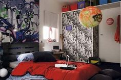 Graffiti Decorating Ideas for a Very Cool Teen Bedroom Look