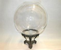 Art Nouveau antique glass fish bowl and metal stand