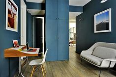 Blue office in modern style | Bureau bleu au style moderne