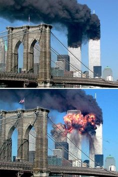 Twin Towers Of The World Trade Center Burn Behind The Empire State Building World Trade Center Collapse, World Trade Center Buildings, Trade Centre, 911 Twin Towers, Wtc 9 11, North Tower, Haunting Photos, Us History, History Facts