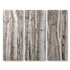 Canvas Birch Tree 3 Panels Wall Art Decor review at Kaboodle