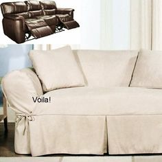 Genial Reclining SOFA Slipcover Ivory Heavy Suede Adapted For Dual Recliner Couch