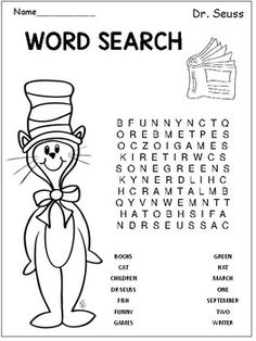 SEUSS WORD SEARCHHere Is A Fun Page That Your Students Can Use To Do Elementary