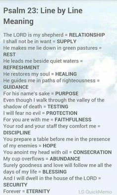 Psalm 23 meaning line by line Bible study Prayer Scriptures, Bible Prayers, Bible Verses, Bible Art, Life Quotes Love, Faith Quotes, Bible Quotes, Godly Quotes, Beautiful Words