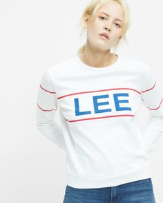 Lee Retro Logo sweatshirt - regular fit - Hvid