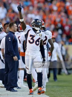 Kayvon Webster #36 of the Denver Broncos celebrates after a Broncos first quarter touchdown against the Carolina Panthers during Super Bowl 50 at Levi's Stadium on February 7, 2016 in Santa Clara, California.