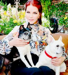 Priscilla Presley photographed with her dogs, Jerry and Stella, at her home in Beverly Hills, CA, 2015.