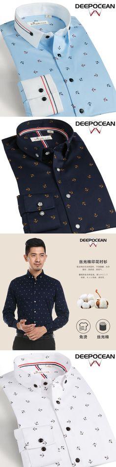 2017 New Men Shirt Cotton Business Dress Shirts Mercerized cotton printed Shirt Brand Clothing Man Tops Plus Size Shirt Man