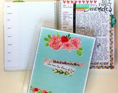 Bible Journaling Notebook   Pink Roses / Blue Polka Dots  BJ123 / Bible Journal / Prayer Journal