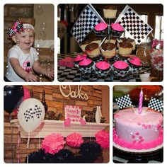 Cute decorations at a pink car theme for a girl birthday! See more ...