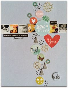 circles and square photos by Rockermorsan Scrapbook Sketches, Scrapbook Page Layouts, Scrapbook Albums, Scrapbook Cards, Photo Layouts, Studio Calico, Crate Paper, 6 Photos, Tutorials