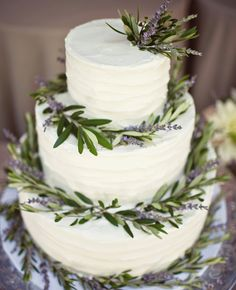 #KatieSheaDesign ♡❤ ❥ This Lavender Wreath Cake From the album of: An Intimate Garden Wedding in San Juan Capistrano, CA via @The Knot