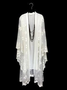 Off white Lace Kaftan jacket lined robe kimono by Bibiluxe on Etsy