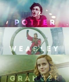 Hermione Granger, Ron Weasley and Harry Potter Harry Potter Gif, Harry E Hermione, Mundo Harry Potter, Harry Potter Pictures, Harry Potter Wallpaper, Harry Potter Universal, Harry Potter Characters, Harry Potter World, Ron Weasley