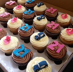 21st male and female birthday cupcakes, with blue and pink glitter 21st, blue cars, flowers and butterfly's made by butterfly bakes of st Neots uk xx