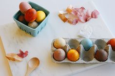 You can create wonderful, deeply colored eggs with leftover scraps you have in your kitchen.