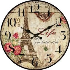 "Amazon.com: 13"" Stupell Home Decor Collection The Eiffel Tower Vintage Wall Clock Cafe Dela Hotel Paris Country Primitive: Home & Kitchen"