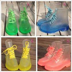 Womens Crystal Square Heel Lace-Up Boots Fashion-Ankle Rain Boots Women's Shoes, Mode Shoes, Me Too Shoes, Shoe Boots, Ankle Boots, Shoe Bag, Flat Shoes, Dr. Martens, Botas Dr Martens