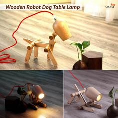 Liven up any space with this fun Wooden Robot Dog Table Lamp. Best part is he sits on command and doesn't poop:)