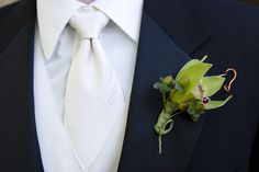 Cymbidium Orchid Boutonneire with Copper Wire Accents