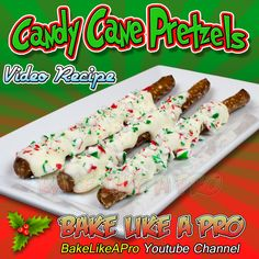 WHITE CHOCOLATE CANDY CANE PRETZELS RECIPE ►CLICK PICTURE to watch recipe Baking Recipes, Holiday Recipes, Great Recipes, Holiday Baking, Christmas Baking, White Chocolate Candy, Pretzels Recipe, Pretzel Rods, Recipe Please