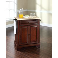 Crosley Furniture LaFayette Top Portable Kitchen Island in Vintage Mahogany Finish
