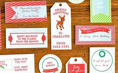 Free personalized printable gift tags at Paper and Pigtails - lots of designs