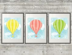 Yellow, Coral Pink and Lime Green Hot Air Balloon Printable Art 8x10 Poster set of 3 Nursery Art Printables- Instant Download on Etsy, $15.00