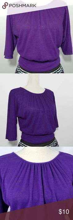 """Notations purple blouson top Cute top from Notations with batwing sleeves, I think that's what they are called.  In good condition with piling from normal wash and wear, you should be able to see in the close up picture.  Looks really good with the skirt I have in another listing.  78% Polyester 18% Rayon 4% Spandex  18"""" from top to bottom 14"""" across waist Notations Tops"""