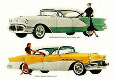 1956 Oldsmobile Ninety-Eight DeLuxe Holiday Sedan and 1956 Buick Roadmaster Four Door Riviera