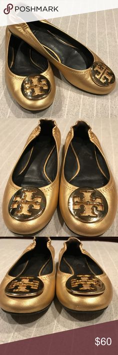 Tory Burch Ballet Flats Gold Ballet Flats with gold Tory Burch medallion on  top. I